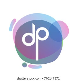 Letter DP logo with colorful splash background, letter combination logo design for creative industry, web, business and company.