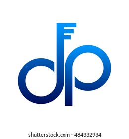 letter dp logo icon with key shape