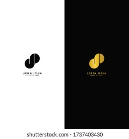 Letter dp lowercase logo design template elements. Gold letter isolated on black background. Black letter isolated on white background. Suitable for business, consulting group company.