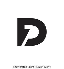 letter dp simple geometric arrow negative space logo vector