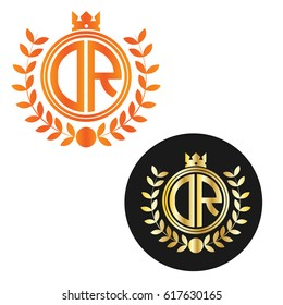 letter DR circle shape logo with crown and wheat icon