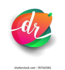 Letter DR logo with colorful splash background, letter combination logo design for creative industry, web, business and company.