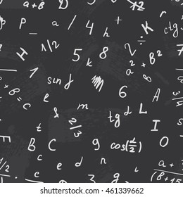 Letter drawing on a blackboard. Alphabet vector. Number and text. Seamless pattern background school