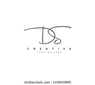 Letter DS Signature Minimal Manual Logotype