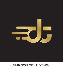 Letter dt linked lowercase logo design template elements. Gold letter Isolated on black  background. Suitable for business, consulting group company.