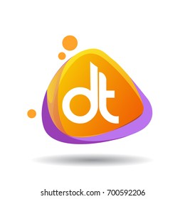 Letter DT logo in triangle splash and colorful background, letter combination logo design for creative industry, web, business and company.