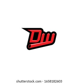 Letter DW logo icon sign for automotive industry company. Vector template. Isolated on white background
