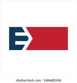Letter E and Arrow. Vector logo.