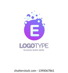 Letter E Bubbles Logo Purple Template. Vector Brand Name Design