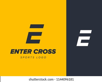 Letter E and C logo or EC initials two modern monogram symbol. Sports logo concept. Graphic alphabet symbol for fitness training identity. Creative sport vector emblem