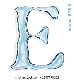 Letter E from clear transparent bluish water droplets. Vector EPS 8.