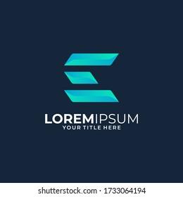 letter E. colorfull logo design template