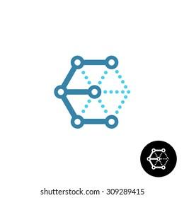 Letter E cube 3D tech wireframe logo