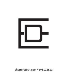 Letter B D Monogram Square Shape Stock Vector Royalty Free