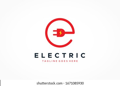 Letter E Electricity Logo. Circular Line Wire and Plug Icon with Flash Symbol inside. Flat Vector Logo Design Template Element.