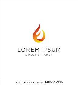 Letter E F Fire Logo Design Vector Stock