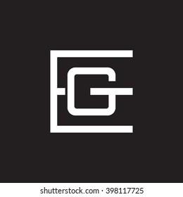 letter E and G monogram square shape logo white black background