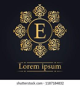 Letter E Golden Monogram