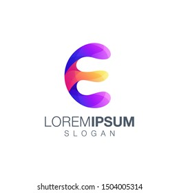 letter E gradient color logo design