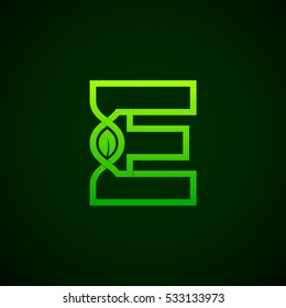Letter E Green leaf with abstract biotechnology logotype. Medicine, science, laboratory,DNA vector concept