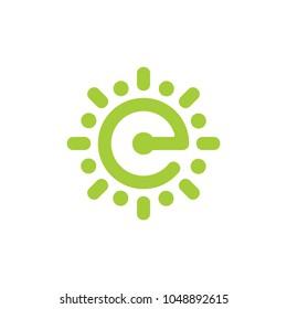 letter e green light design logo
