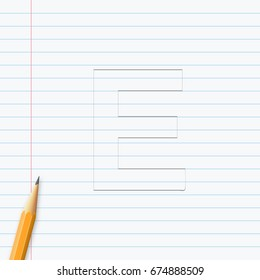 Letter E hand drawn with pencil on a paper sheet. Vector illustration, easy to edit.