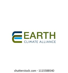 Letter E icon for ecology and earth climate alliance or environment conservation project organization. Vector green E letter symbol for nature climate protection and planet pollution prevention