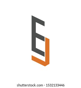 letter E J initial flat logo