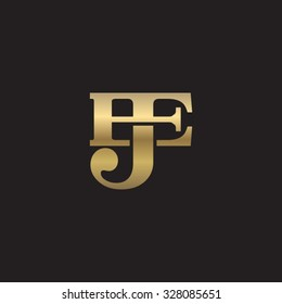 letter E and J monogram golden logo