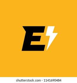 Letter E lightning logo icon design template elements
