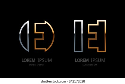 Letter E logo. Alphabet logotype vector design.