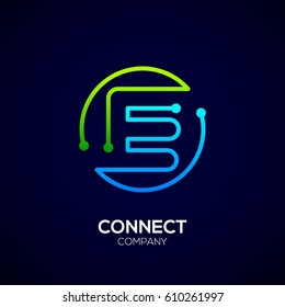 Letter E logo, Circle shape symbol, green and blue color, Technology and digital abstract dot connection