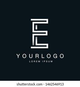 Letter E Logo Design in Labyrinth form Vector Template