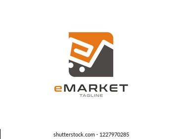 Letter e logo design with retail concept