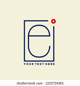 Letter e logo in a geometric frame.Modern, minimalist style lettering icon with lowercase 'e'.