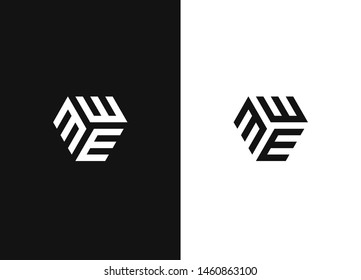 Letter E logo icon design template elements. Simple creative geometric sign. Line creative symbol. Stylish vector emblem for Your design. Black and white version.