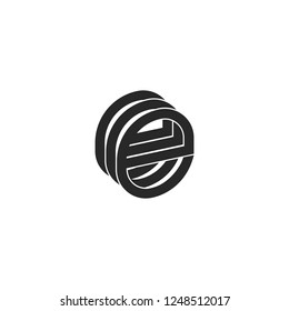 Letter e logo monogram isometric form three letters eee initials lowercase, black and white lines design element for technological emblem.