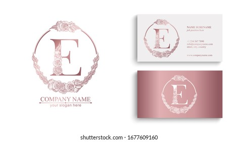 Letter E logo or monogram. For your business. Vector sign. Floral style, beautiful roses. Personal logo.