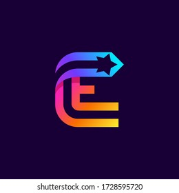 Letter E logo with star inside. Vector parallel lines icon. Perfect font for multicolor labels, space print, nightlife posters etc.