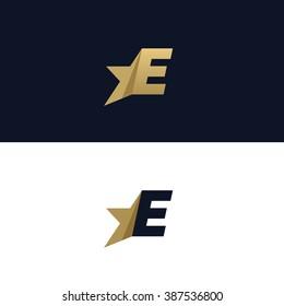 Letter E logo template with Star design element. Vector illustration. Corporate branding identity
