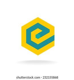 Letter E logo template. Technical hexagonal style.