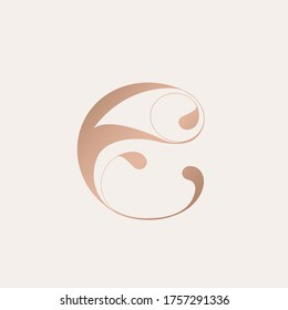 Letter e logo.Decorative shape typographic icon.Rose gold sign.Abstract, ornate lettering symbol.Elegant, luxury style lowercase character.Alphabet initial isolated on light background.