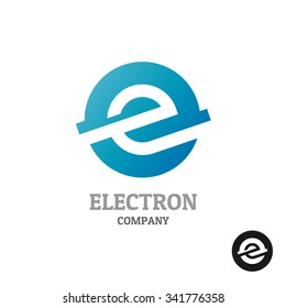 Letter E logo.Industrial tech style in a blue round sphere concept.