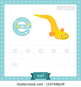 Letter E lowercase cute children colorful zoo and animals ABC alphabet tracing practice worksheet of Yellow Eel for kids learning English vocabulary and handwriting vector illustration.