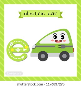 Letter E lowercase cute children colorful transportations ABC alphabet tracing flashcard of Electric Car for kids learning English vocabulary and handwriting Vector Illustration.