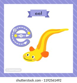 Letter E lowercase cute children colorful zoo and animals ABC alphabet tracing flashcard of Yellow Eel for kids learning English vocabulary and handwriting vector illustration.