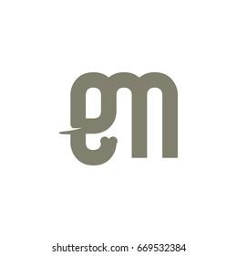Letter E and M Become Elephant Logo