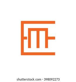 letter E and M monogram square shape logo orange