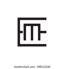 letter E and M monogram square shape logo black