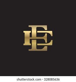 letter E and E monogram golden logo